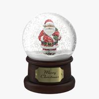 3d snow globe santa