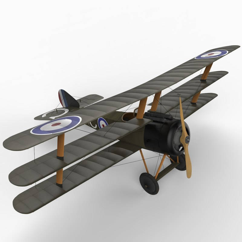 3d sopwith triplane aircraft model