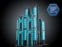 3d sci fi futuristic building model
