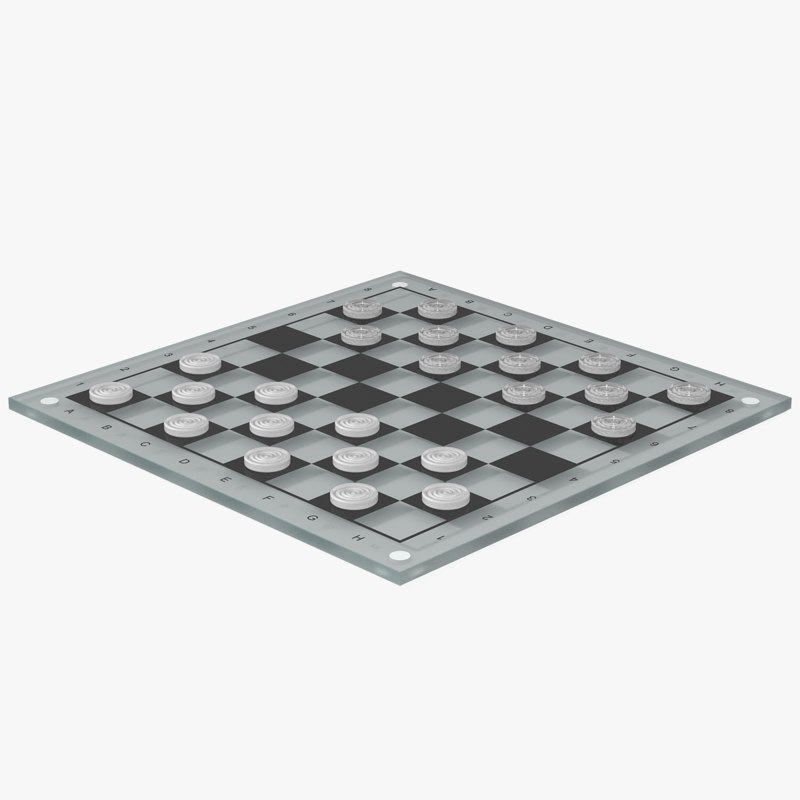 3d model glass checkerboard objects