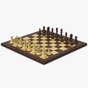 chessboard wood 3d 3ds