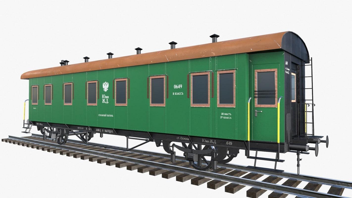 low-poly 2-axle passenger train obj