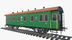 low-poly 2-axle passenger train obj