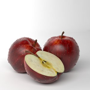 3d model apple red photorealistic