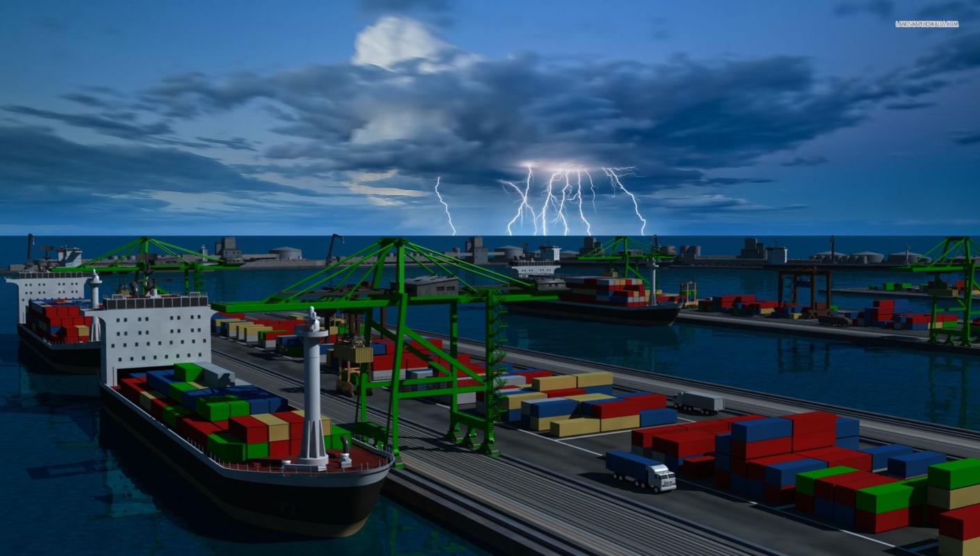 3d shipping port model