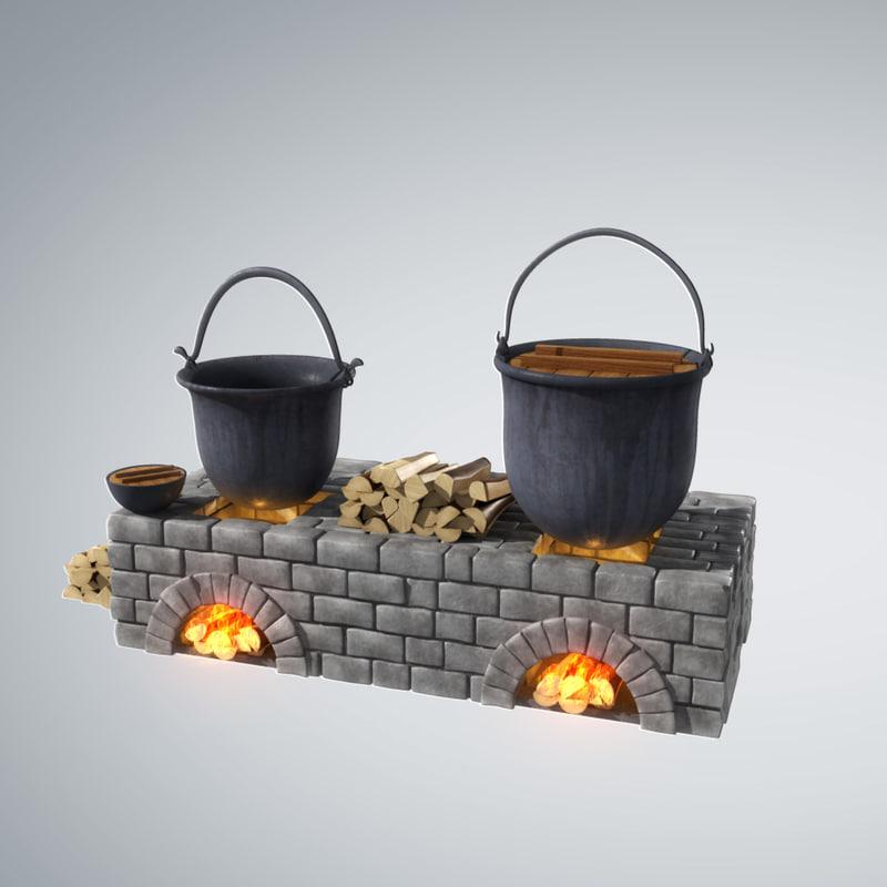 3d stylized old fireplace pots