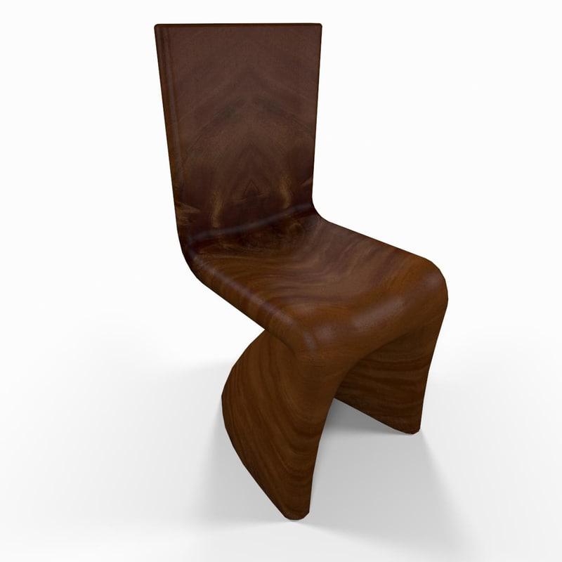 3d wooden kitchen chair model