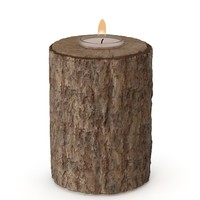 3d realistic wooden candle