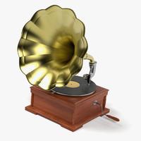 3d model gramophone vinyl
