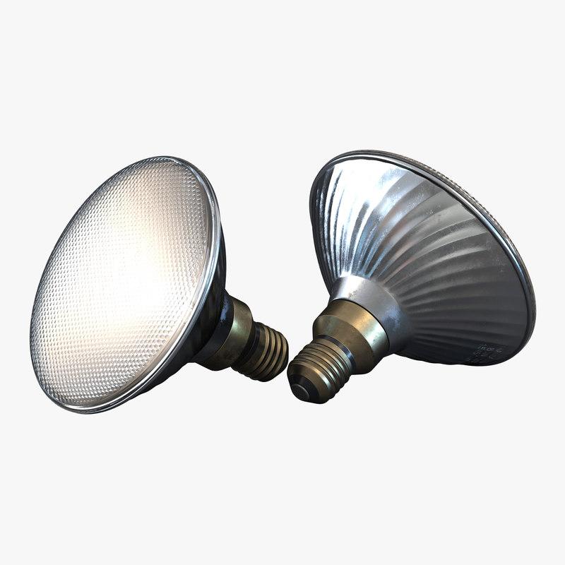 3d model of halogen flood light bulb