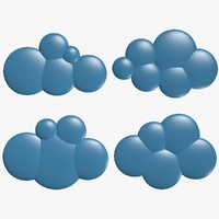 cartoon clouds 3d model