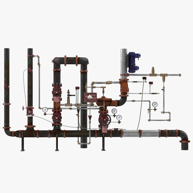 3d 3ds industrial pipes