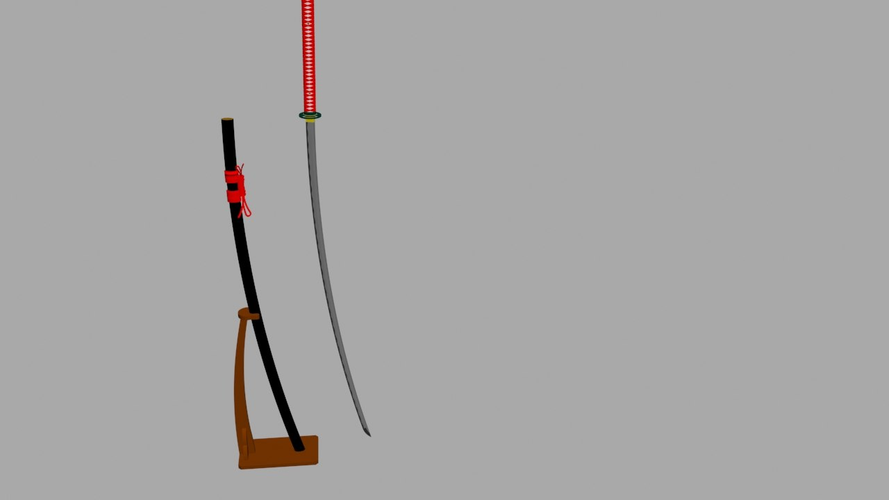 japanese nodachi sword stand 3d x