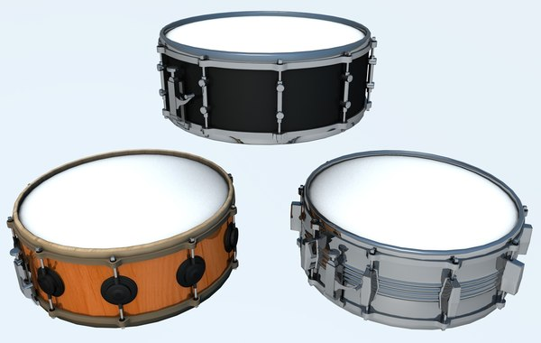 snare drums set 3d 3ds