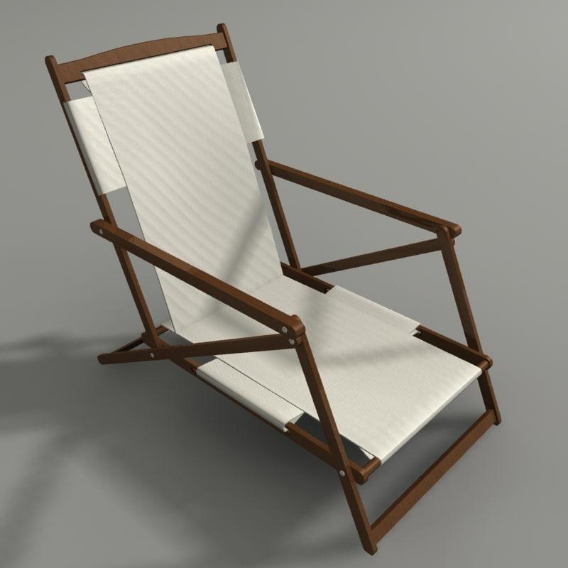 3d model folding beach chair