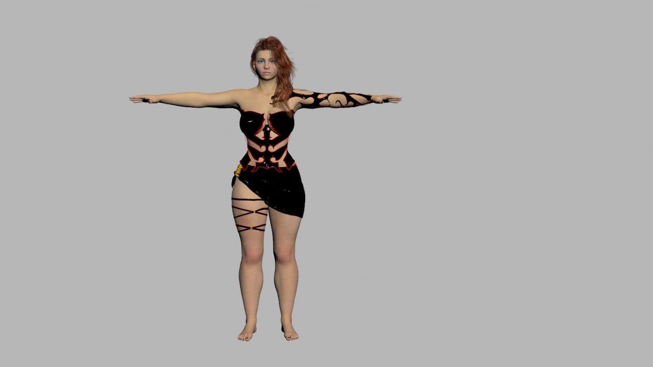 redhead black dress x