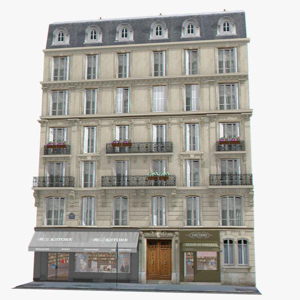 old european tenement house 3d 3ds