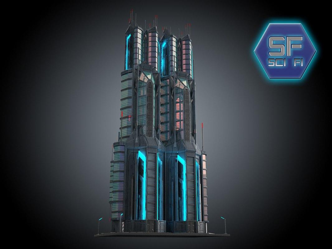 3d model of sci fi futuristic building