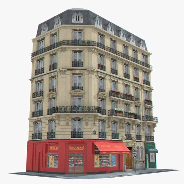 photorealistic european tenement house 3d model