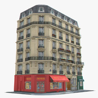 photorealistic european tenement house 3d model