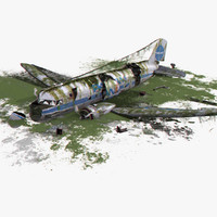 3d model dc-3 air crash 3