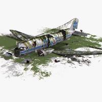3d dc-3 air crash 3 model