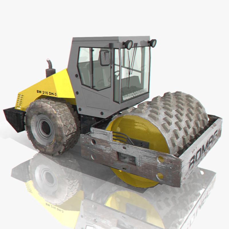bomag road roller 3d model