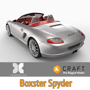 3d pre-rigged boxster spyder rigged model