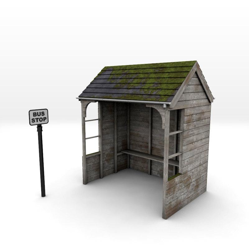3d 3ds rural bus shelter