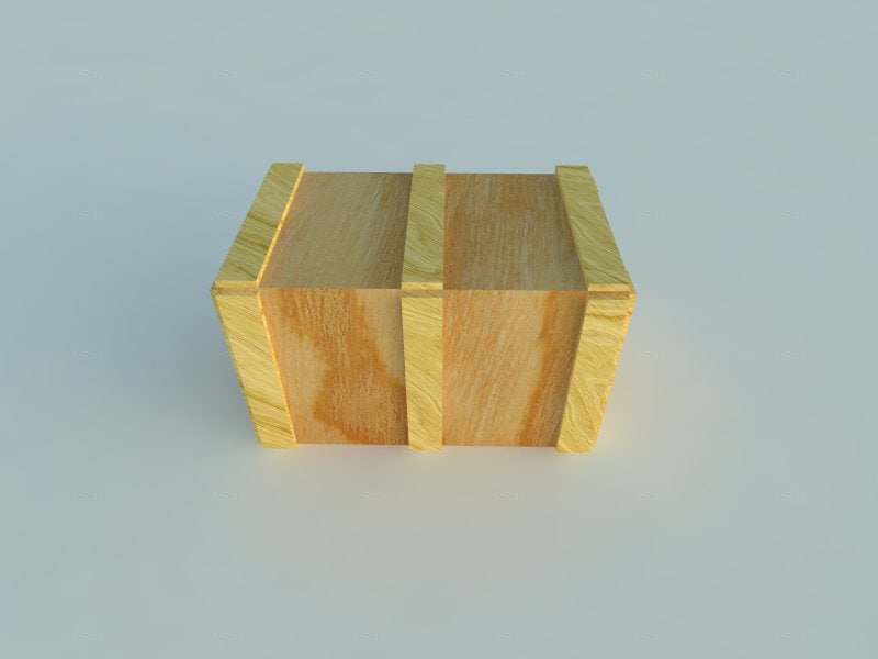 3d crate box wood model