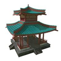 oriental pagoda temple 3d obj