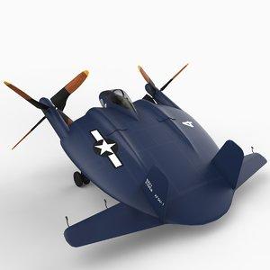 vought v-173 xf5u-1 3d model