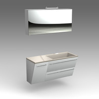 Glass wash-basin with cabinets, mirror_006