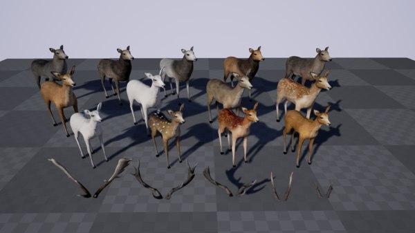 deer modular pack 3d model