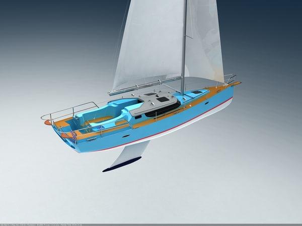 sail sailboat boat 3d max