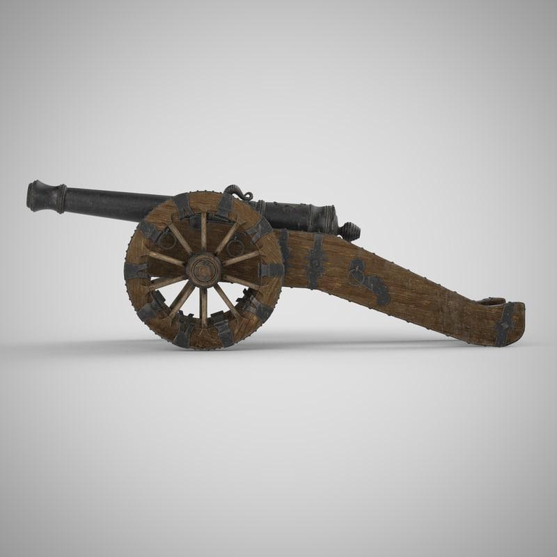 cannon artillery 3d model
