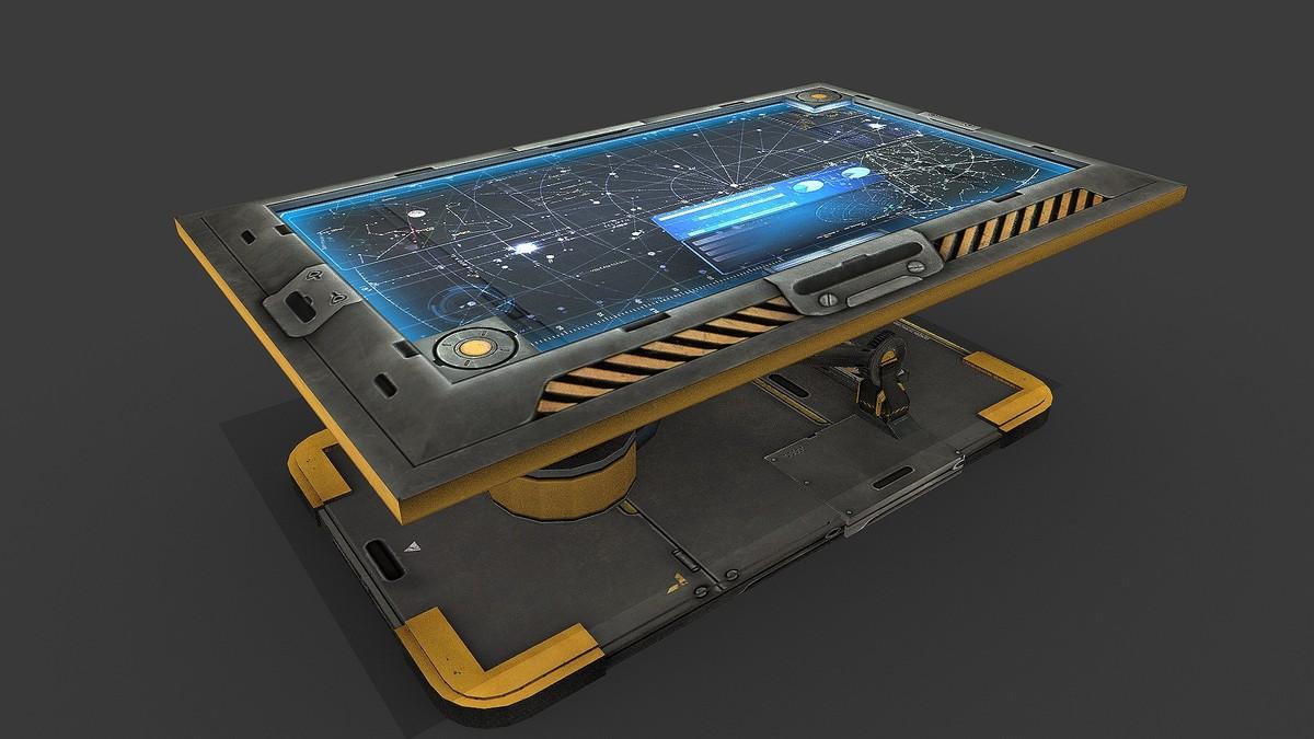 3d sci fi hologram table