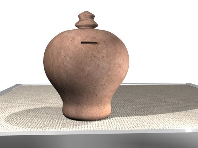 3d old money box terracotta model