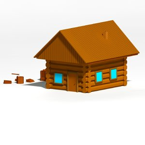 cartoon wooden cottage 3d obj