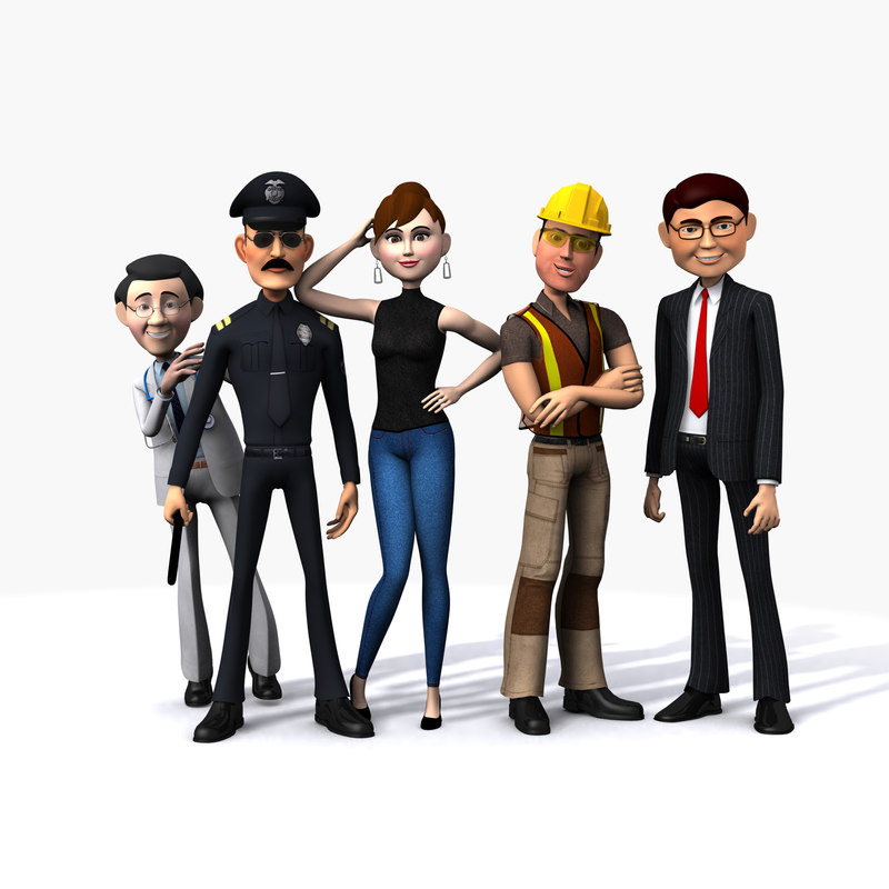3d cartoon people woman model