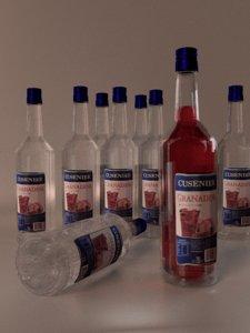 3d glass bottle model