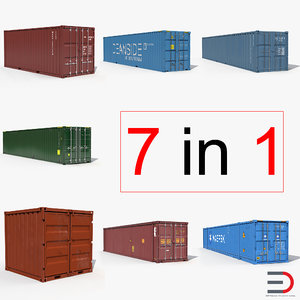 3d containers 3 model