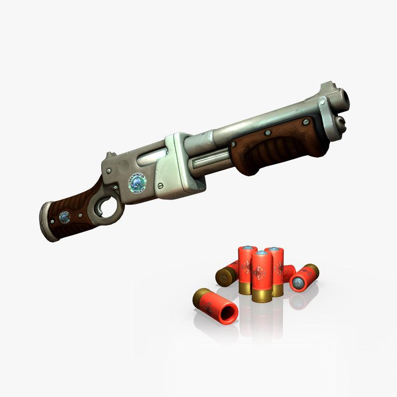 pump action shotgun 3d model
