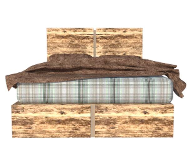 bed modern 3d 3ds