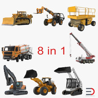 construction vehicles rigged 2 3d ma