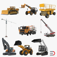 Construction Vehicles Rigged Collection 3D Models