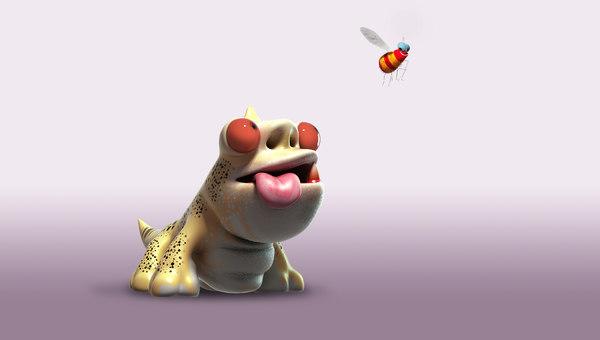 gecko cartoon toon 3d model