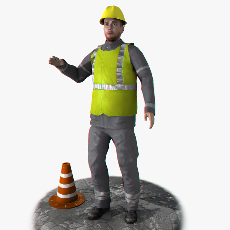 rigged worker 3d 3ds