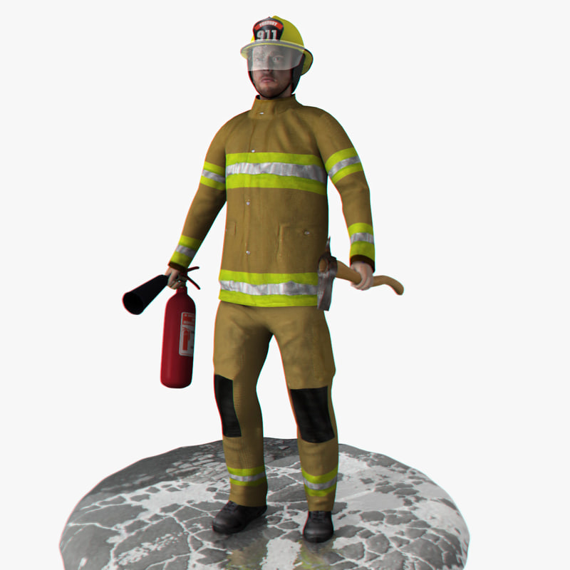 3d rigged firefighter