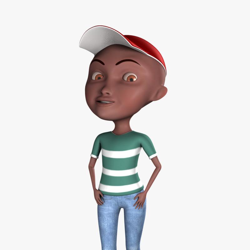 boy cartoon character rigged 3d model